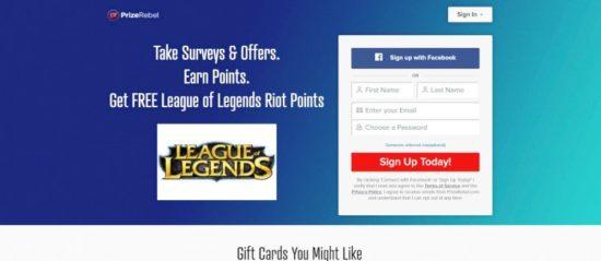 PrizeRebel RP (Riot Points) gratis League of Legends