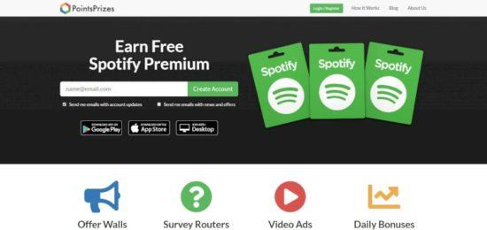 Como conseguir cuentas Spotify premium gratis PointsPrizes