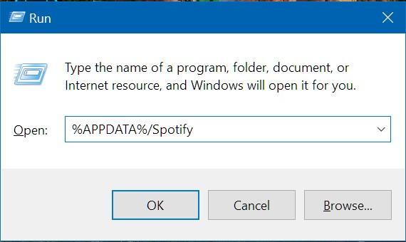 Comando de ejecución del directorio de Spotify en Windows