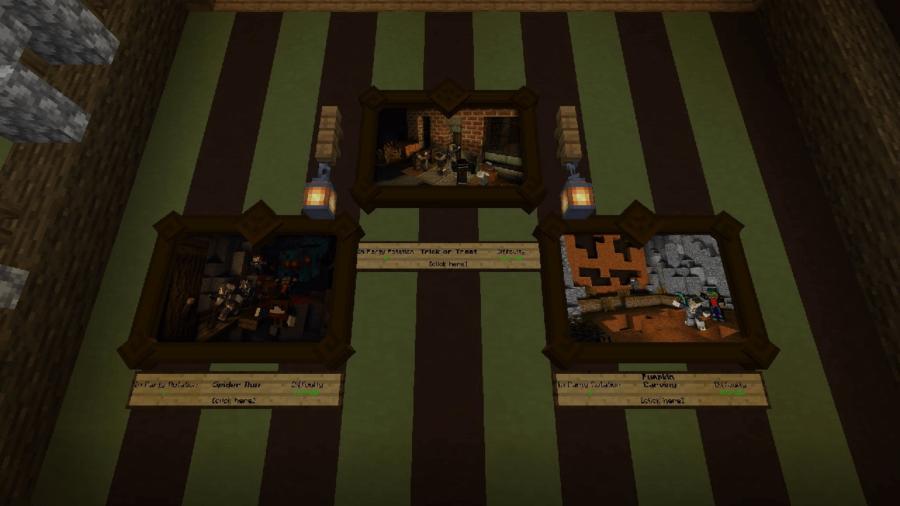 Una captura de pantalla de imágenes con minijuegos en Minecraft.