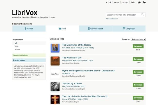 Página de inicio de LibriVox con audiolibros gratuitos