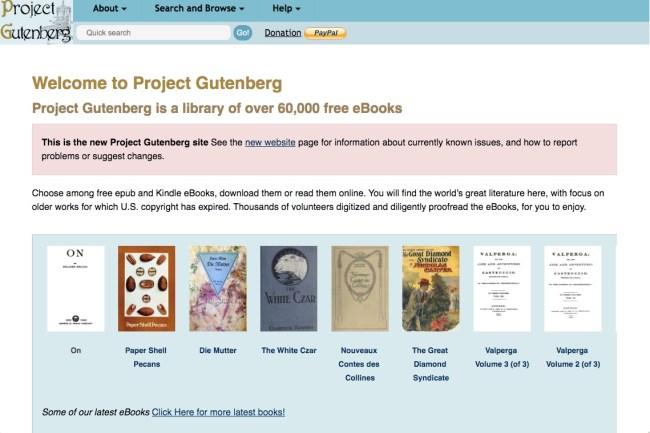 Página de inicio del sitio web del Proyecto Gutenberg