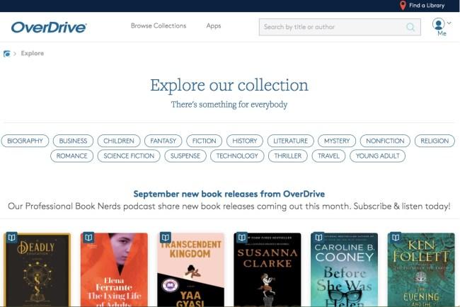 Página de inicio del sitio web de OverDrive