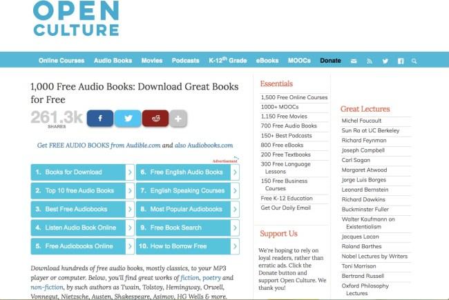Página de audiolibros gratuitos de Open Culture