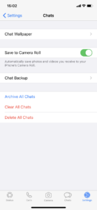 Captura de pantalla de los ajustes de WhatsApp