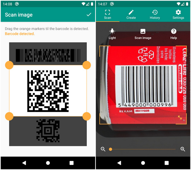 QR y lector de códigos de barras de TeaCapps