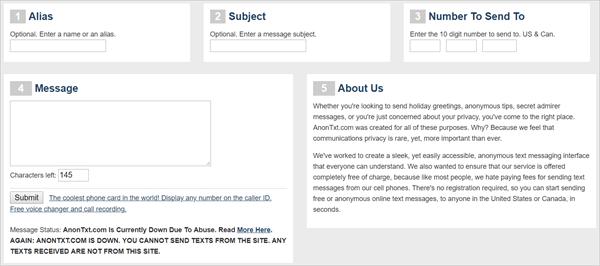 enviar texto anónimo