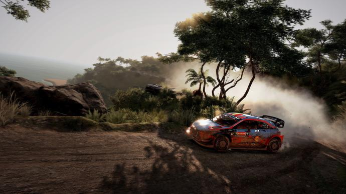 Un Hyundai i20 derrapa en una curva en WRC 9