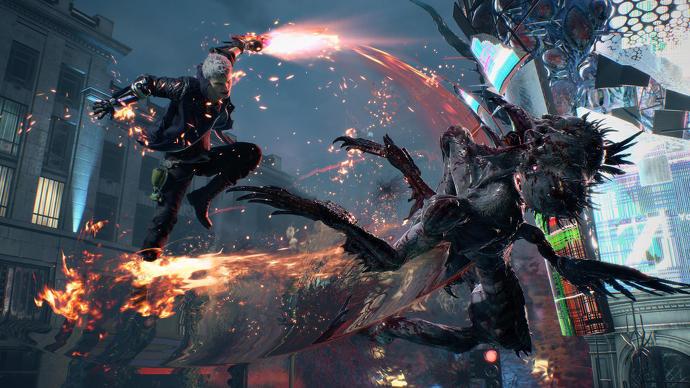 Nero en acción en Devil May Cry 5