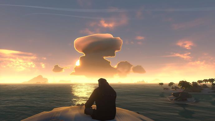 Un personaje se sienta a contemplar la puesta de sol en Sea of Thieves