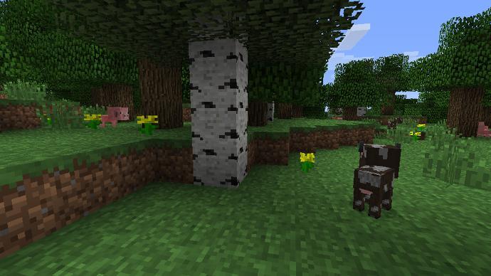 Un árbol y una vaca en Minecraft