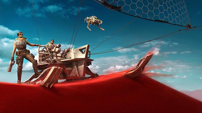 Kait Diaz y Delmont Walker en una duna de arena roja en Gears 5