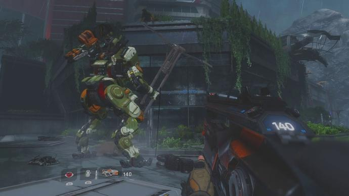Un titán fuera de un edificio abandonado en Titanfall 2