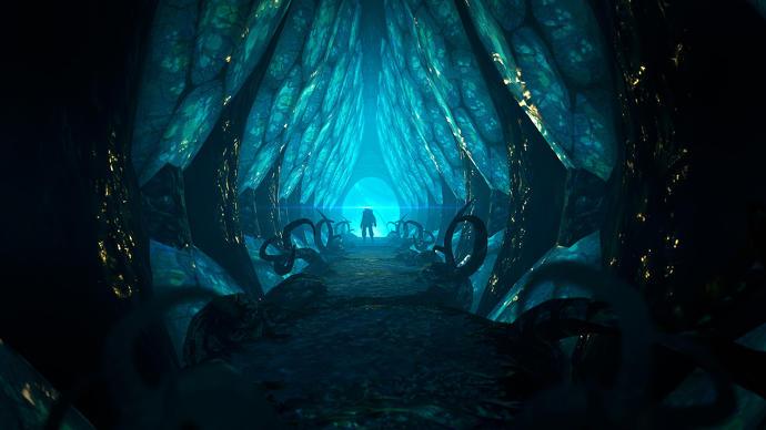 a_caracteres_silueta_en_el_final_de_un_túnel_azul_brillante
