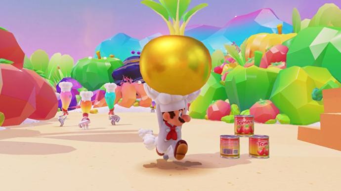 Mario con un traje de chef llevando un nabo dorado