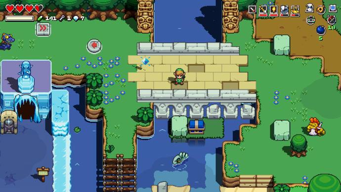 Link se encuentra en un puente mirando hacia un río