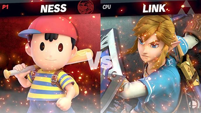 Enfrentamiento entre Ness y Link en Super Smash Bros. Ultimate