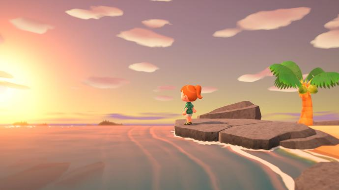 Un personaje de Animal Crossing se encuentra en una playa contemplando la puesta de sol