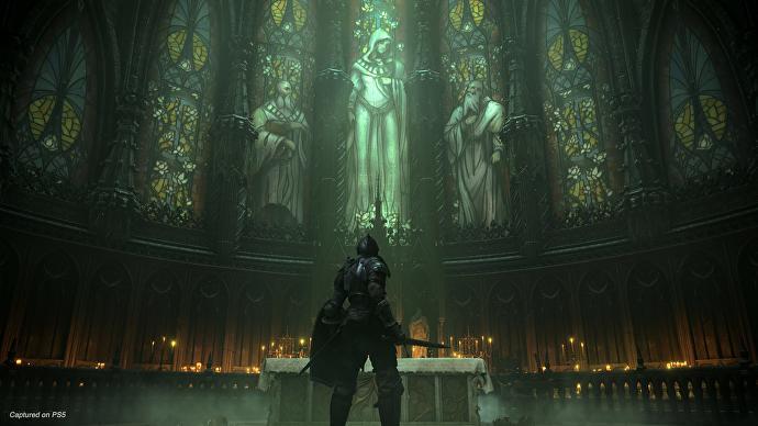 Un momento de tranquilidad en una iglesia en Demon's Souls