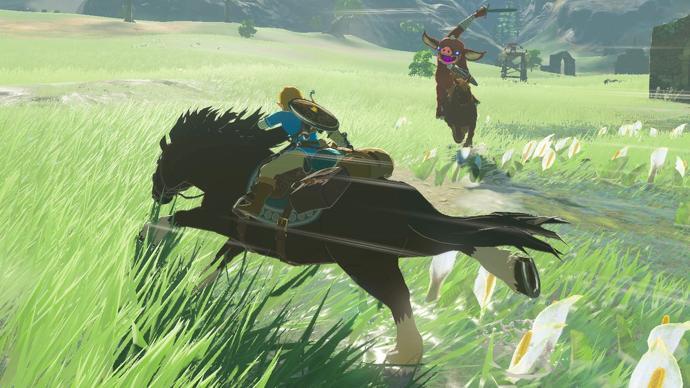 Link a caballo perseguido por un Bokoblin también a caballo
