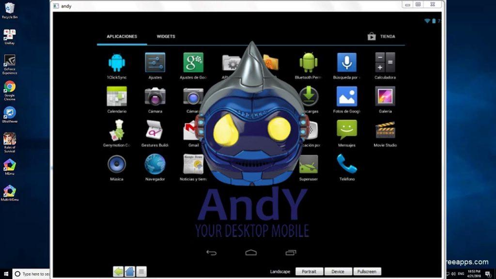 Andy android emulator para jugar juegos de Android en PC