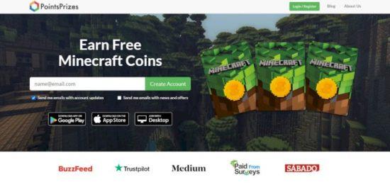 pointsprizes ganar moneas gratis minecraft
