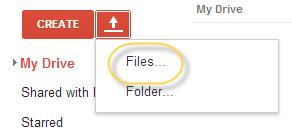 opción de carga en google drive