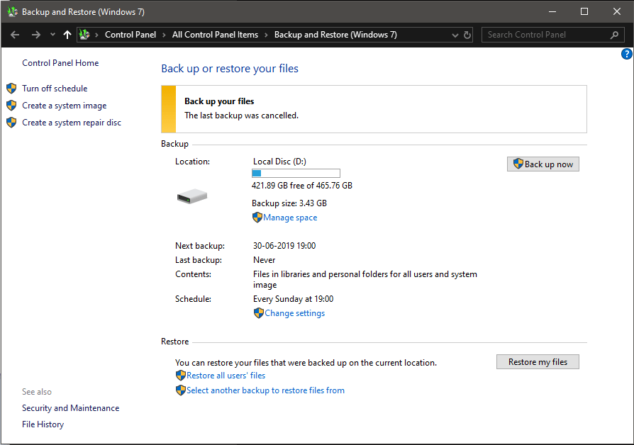 Use Copia de seguridad para recuperar archivos eliminados en Windows 10-3
