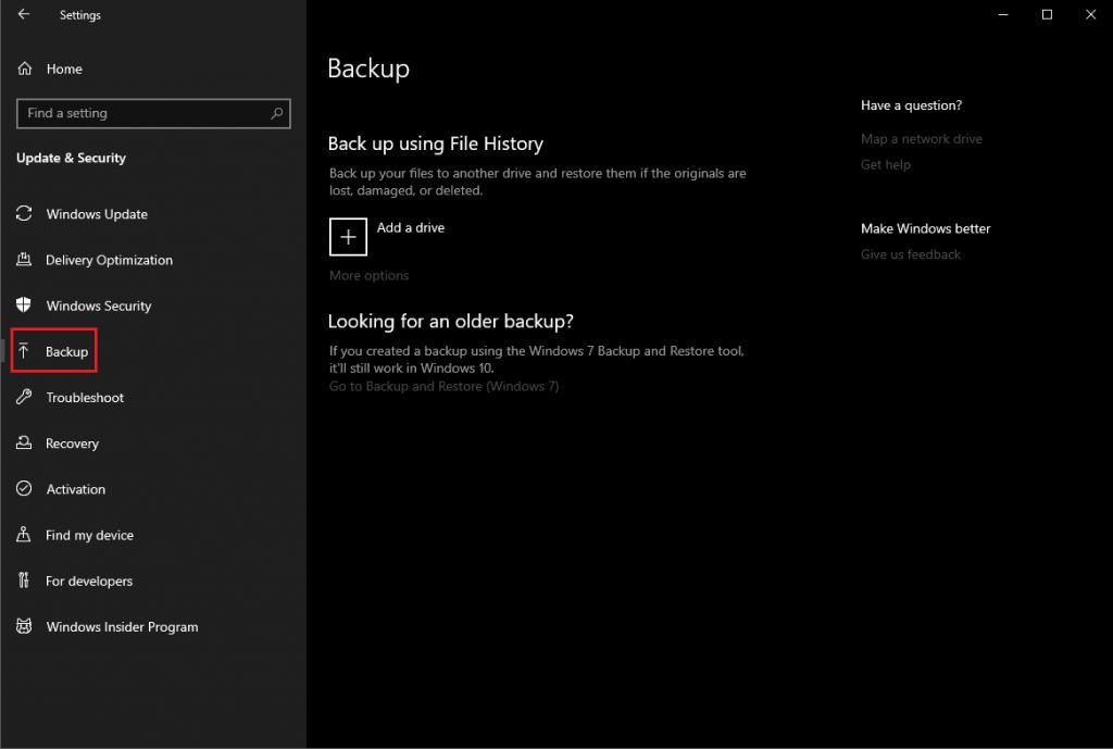 Use Copia de seguridad para recuperar archivos eliminados en Windows 10