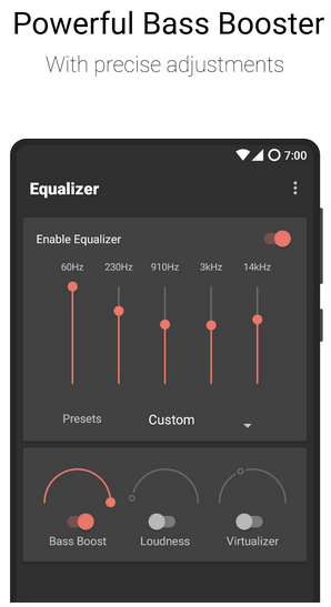Ecualizador plano: amplificador de graves y amplificador de volumen