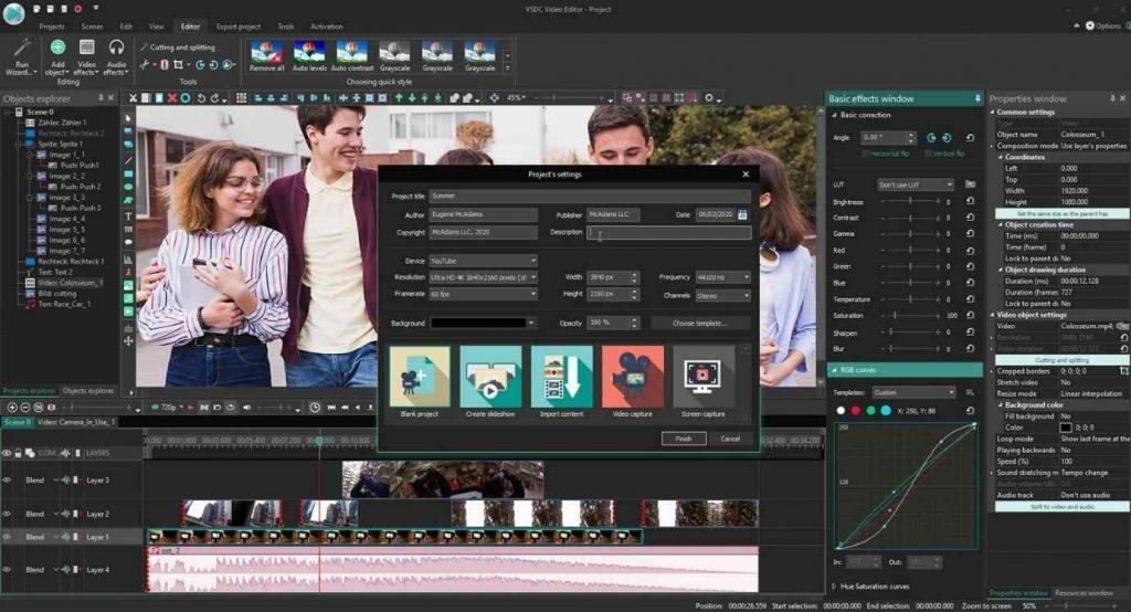 VSDC: editor de video gratuito en pantalla dividida