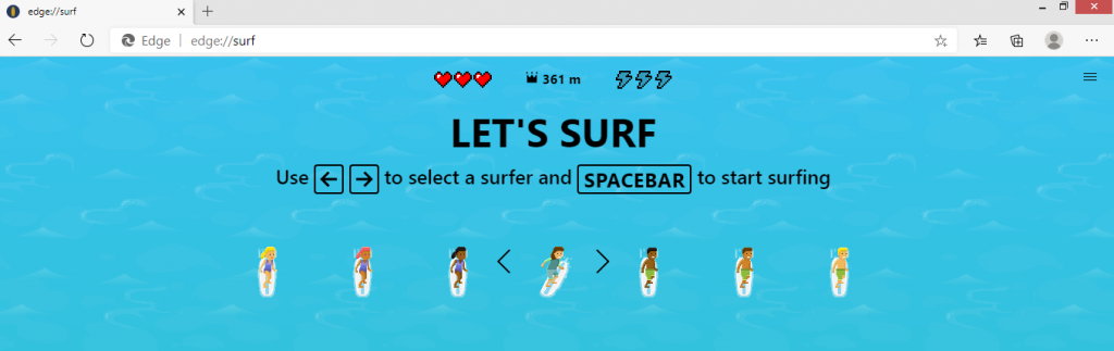 Cómo jugar Microsoft Edge Surf Game comienza